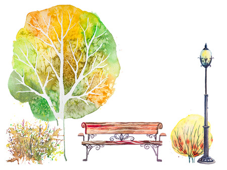 shrub: Hand drawn watercolor autumn background with tree, shrub, bench and lantern, isolated on the white background