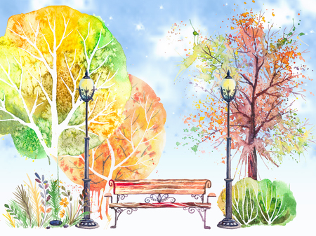 Hand drawn watercolor background with autumn park: trees, shrubs, bench and lanterns, on the blue sky