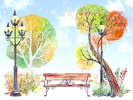 Hand drawn watercolor background with autumn park: trees, shrubs, bench and the big lantern, on the blue sky Archivio Fotografico