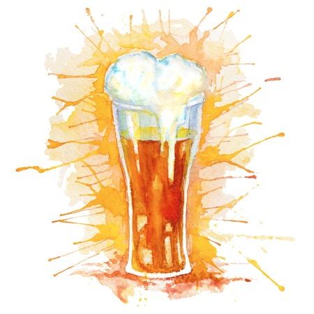 foam party: Watercolor hand drawn glass of fresh beer with foam and splashes isolated on the white background