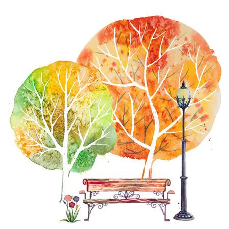 手描き水彩の秋背景に公園、屋外の要素、オレンジ、緑の木々、ベンチ、花、ランタン、