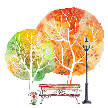 Hand drawn watercolor autumn background with park, outdoor elements, orange,green trees,bench, flowers and lantern,