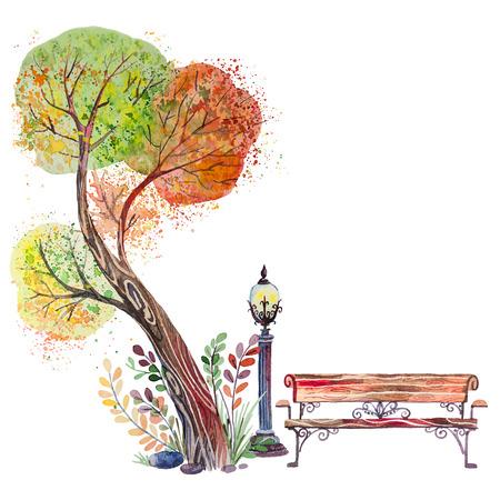 Dibujado a mano acuarela de fondo de otoño con parque, elementos al aire libre, naranja, árbol verde, banco y linterna, aislado en el blanco