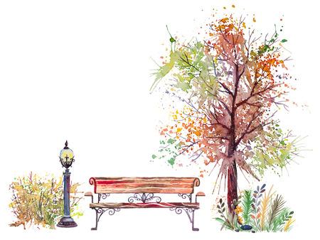 naranja arbol: Dibujado a mano acuarela de fondo de otoño con parque, elementos al aire libre, naranja, verde de árboles, arbustos, banco y linterna, aislado en el fondo blanco
