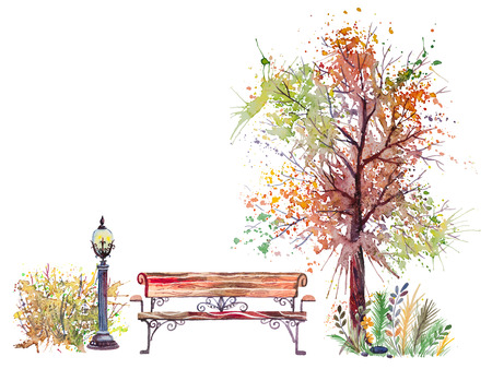 Hand drawn watercolor autumn background with park, outdoor elements, orange,green tree,shrub, bench and lantern, isolated on the white background