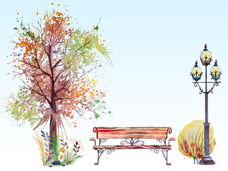 Hand drawn watercolor fall background with park, outdoor elements, orange,green tree,shrub, bench and lantern, on the blue background