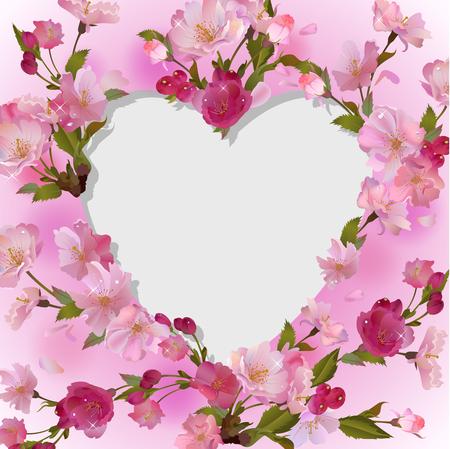 fleur de cerisier: Vector printemps carré fond avec des branches douces cerises, des fleurs et des pétales, avec le coeur - place vide pour le texte