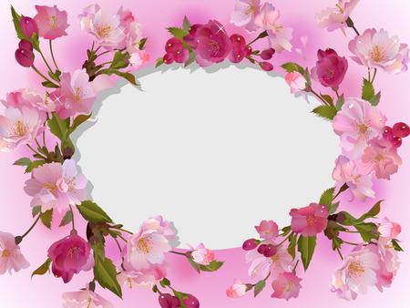 ovalo: Resorte vector horizontal de fondo con ramas de cerezo suaves, flores y pétalos, con el lugar vacío para el texto ovalada