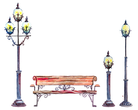 benches: Hand drawn watercolor autumn background with park, outdoor elements: set of street lanterns and bench, isolated on the white background