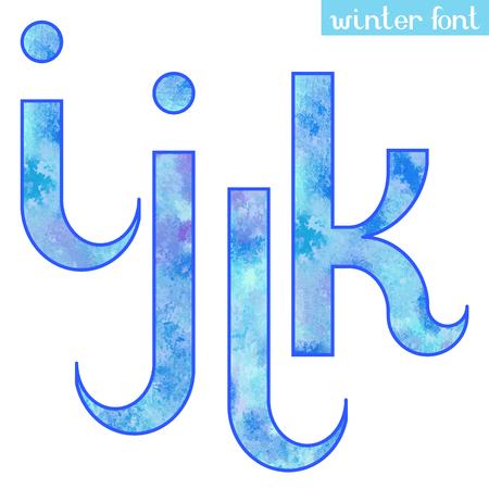 Colorful blue ice frozen watercolor paint alphabet letters I,J,K,L - vector Illustration