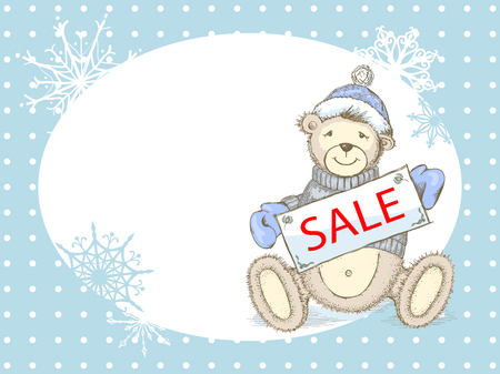 pastel colored: Winter pastel colored sale advertising background with toy bear in sweater,hat and mittens and empty place for your text