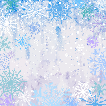 Winter vector blue celebration or invitation square card with falling snowflakes on the frost background Ilustração