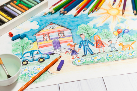 Childrens Creation Sketch With Happy Family