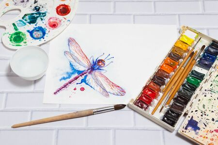 pictorial art: Composition With Sketch of Dragonfly And Paints