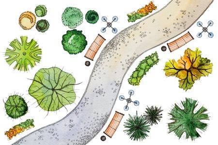 Set van geïsoleerde waterverf landschap ontwerp elementen