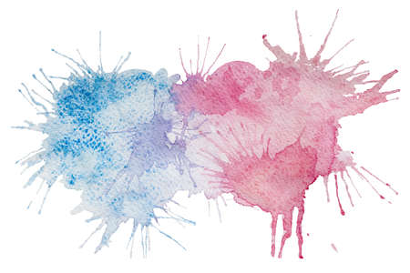 pictorial art: Pink and blue watercolor splash stain