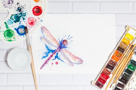 pictorial art: Flat Composition With Sketch of Dragonfly And Paints