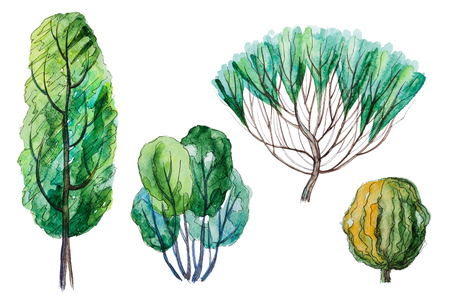 Set of hand drawn watercolor pictorial green trees and shrubs, isolated on the white background for your landscape design