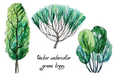 Vector conjunto de árboles de acuarela verde