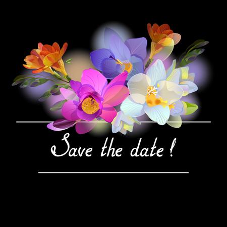 Black invitation with freesia flowers Illustration