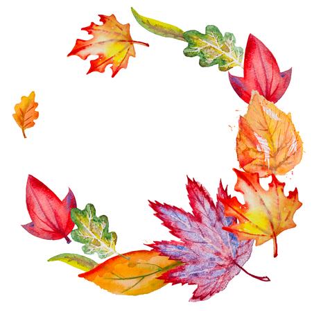 秋の紅葉と水彩サークル組成 写真素材