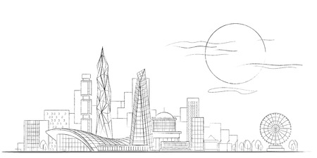 Vector Linear Sketch of Modern Cityscape Black and White Background with Scyscrapers and Multistory Modern Buildings and Ferris Wheel, Trees and Lanterns. Frontal Panoramic View