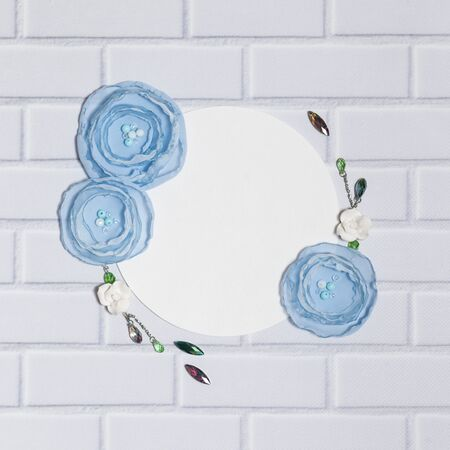 White Square Background With Handmade Ranunculus Flowers