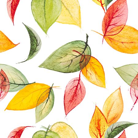 Watercolor vector seamless print with autumn leaves Ilustracja