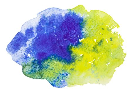 Watercolor hand drawn vector blue and yellow colored stain, isolated on the white background