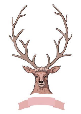 Vector Sketch of Beautiful Deer with ribbon