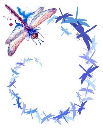 Flying Purple Watercolor Dragonflies vertical background Stock Illustratie