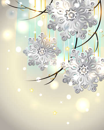 Winter Vertical Card with silver snowflakes Stock Illustratie