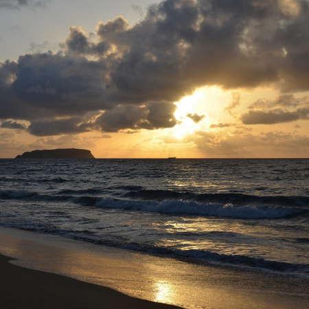 Sunset on the island of Porto Santo, Portugal Stock Photo