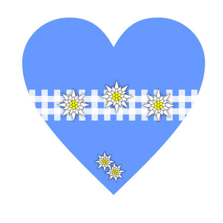 Heart Symbol Bavarian Style in light blue with alpine pattern and edelweiss Stock Photo