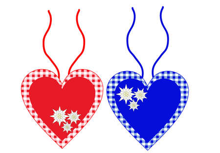 Bavarian hearts with ribbons in blue and red
