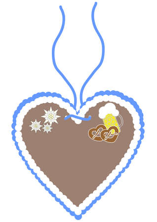 gingerbread heart in blue with beer, pretzels and edelweiss