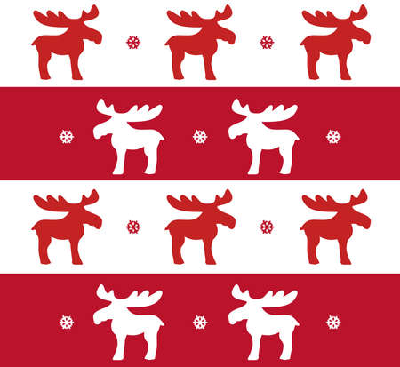 Christmas pattern with reindeers with red and white stripes Stock Photo
