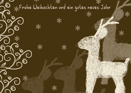 Merry Christmas and a happy new year with reindeers and ornaments Stock Photo