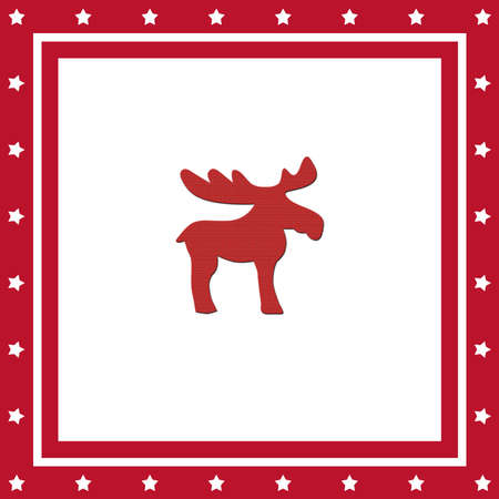 Square Christmas card with reindeer