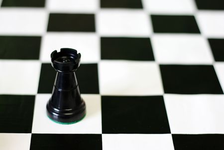 Strategic games; chess; one black castle on chess board