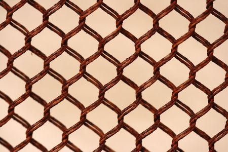 checkerplate: Closeup of rusty chainlink fence Stock Photo