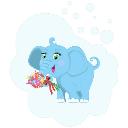 Baby elephant with flowers  illustration  Vector