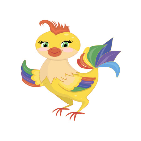 aciculum: Cute rooster isolated on a white background illustration