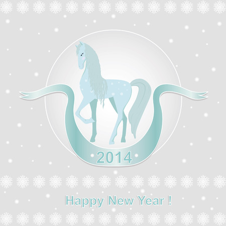 New Year card  with blue horse illustration  Vector