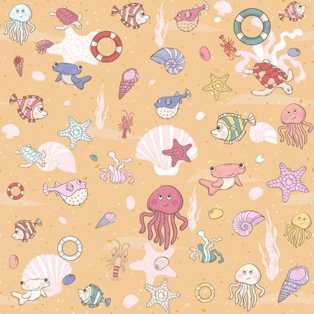 Seamless sea pattern with various inhabitants 일러스트
