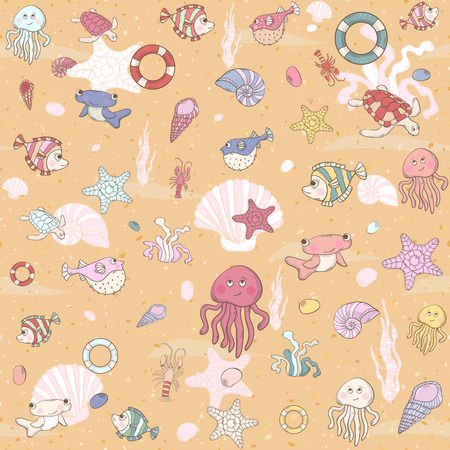 Seamless sea pattern with various inhabitants Illustration