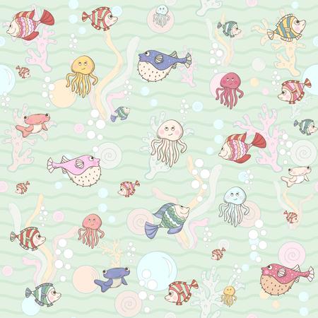 algae cartoon: Marine life Seamless pattern