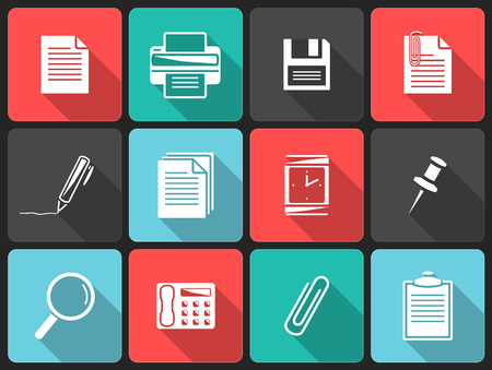 Office icons Flat icons with shadow  Vector
