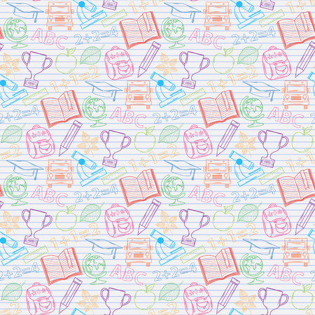 Seamless pattern Back to school on the notebook sheet in line,with:hat graduate, scroll, apple, books, flasks, basketball, alarm clock, briefcase, backpack, school bus, globe, ruler ,microscope Vector