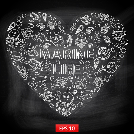 fish form: Chalk board Marine Life in the form of heart,themed design with elements: fish, turtle, shell, seaweed, jellyfish, coral, sea urchins, fish Hammer, lobster, bubbles in the shape of heart